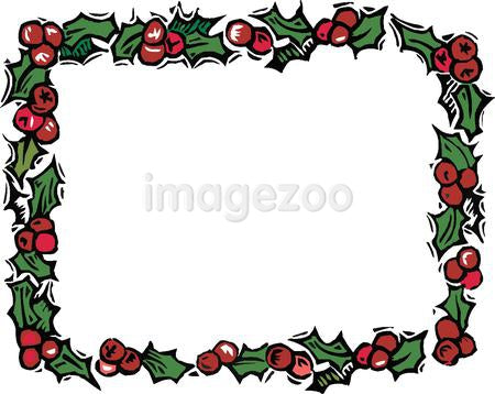Rectangular garland of holly bordering a blank space