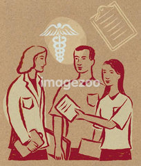 Illustration of a couple handing papers to a doctor, a caduceus sign and a clipboard
