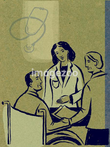 Illustration of a doctor speaking to her patient in a wheelchair, with a stethoscope in the background