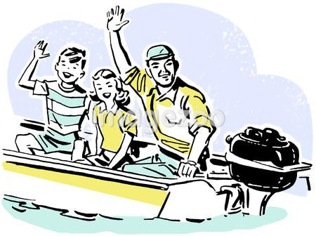 A cartoon drawing of a father and two children waving from a small boat