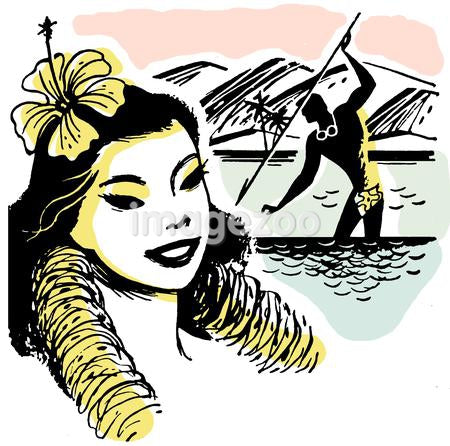 An illustration of a Hawaiian woman wearing a lay with a man spear fishing in the background