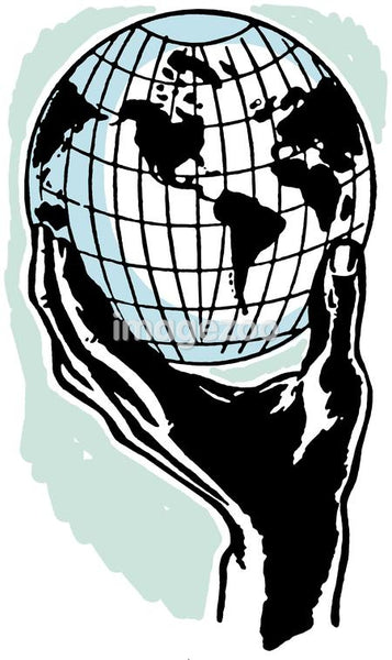 An illustration of a hand holding a world globe