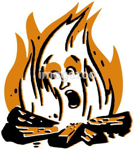 A cartoon illustration of a campfire screaming
