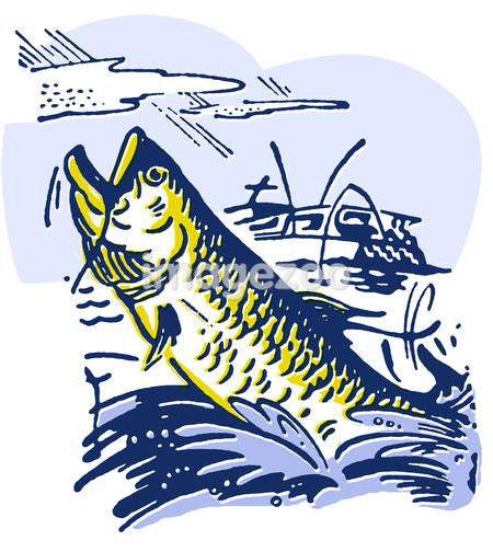 An illustration of a fish being caught by a near by fishing boat