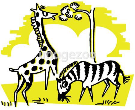 A yellow and black illustration of a giraffe and zebra eating