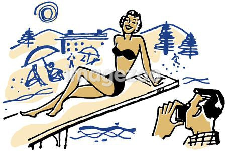An illustration of a woman posing for a photograph on a diving board