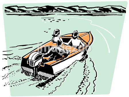 An illustration of three people riding in a speed boat