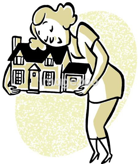 An illustration of a woman embracing a model home