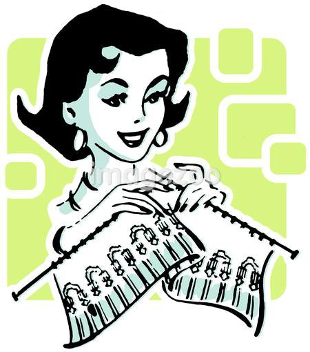 A green and black drawing of a woman knitting