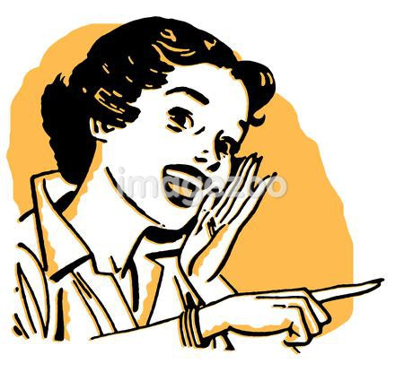 An illustration of a woman calling out in shades of orange