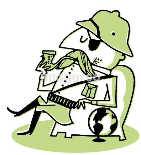 A cartoon drawing of a man in Safari gear smoking a pipe