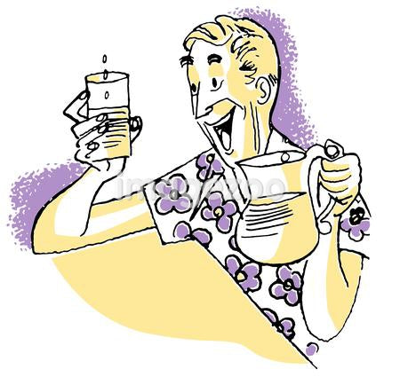 A cartoon illustration of a man in a loud floral shirt pouring lemonade
