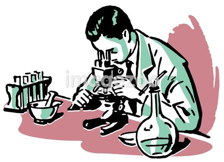 An illustration of a scientist looking into a microscope