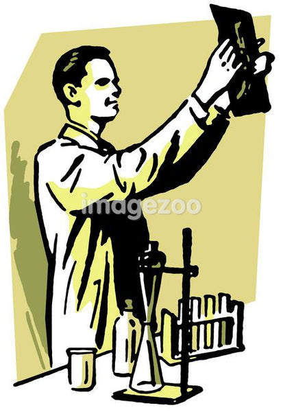 An illustration of a scientist examining a film in a laboratory