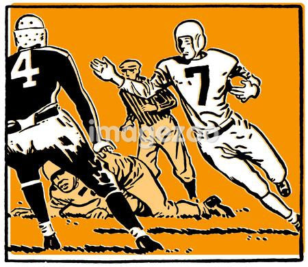 An orange and black illustration of a football game mid play