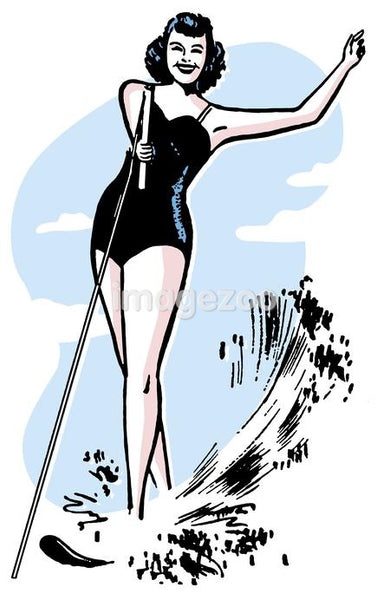 An illustration of a woman waterskiing