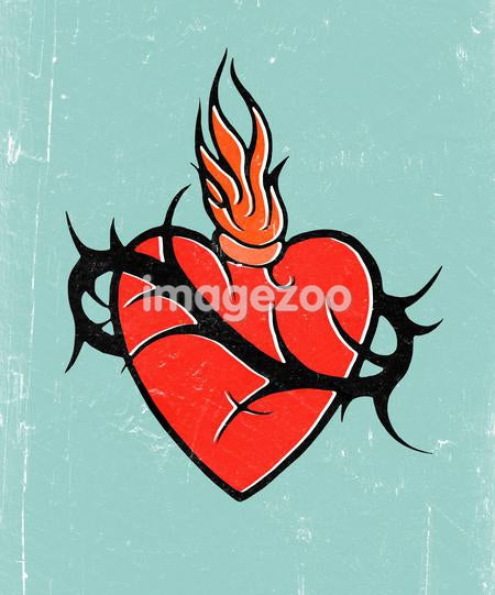 A drawing of a flaming heart with barbed wire around it
