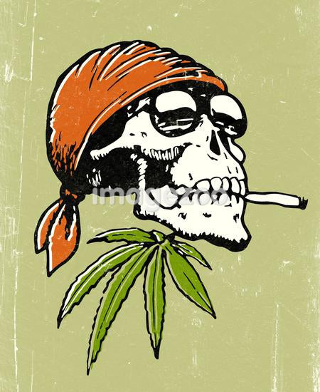 An illustration of a skull wearing a bandana and sunglasses whilst smoking