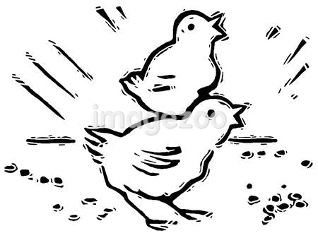 A black and white version of two small chirping chicks