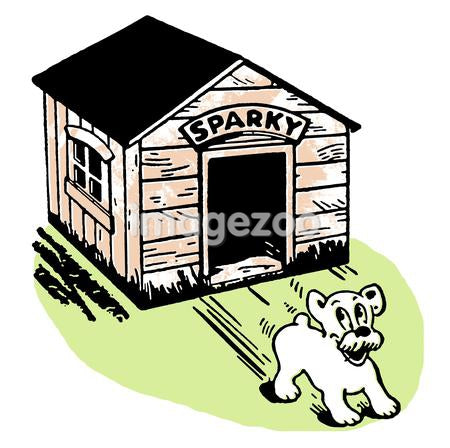 A cartoon style drawing of a dog skidding from its kennel