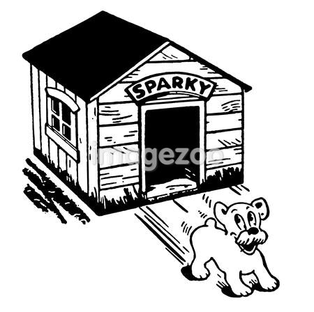 A black and white version of a cartoon style drawing of a dog skidding from its kennel