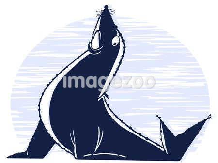 An illustration of a posed sea lion