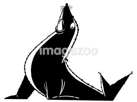 A black and white version of an illustration of a posed sea lion