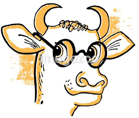 A cartoon style drawing of a bull wearing rounded specials