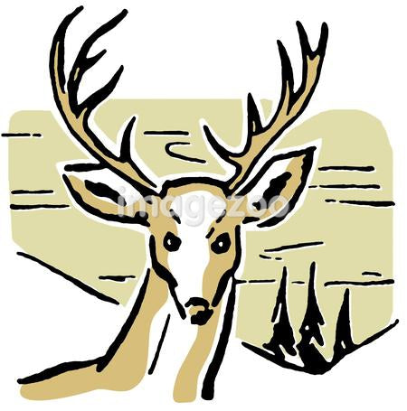 An illustration of a deer with pine trees and rolling hills in the background