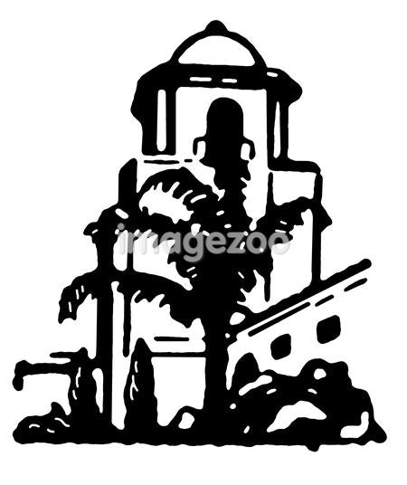 A black and white version of an illustration of a stone building with a large palm tree in the foreground
