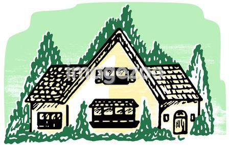 An illustration of a cottage style home