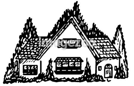 A black and white version of an illustration of a cottage style home