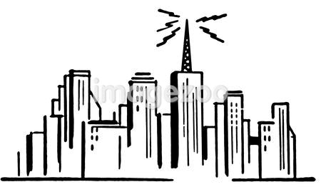A black and white version of an illustration of a city sky line