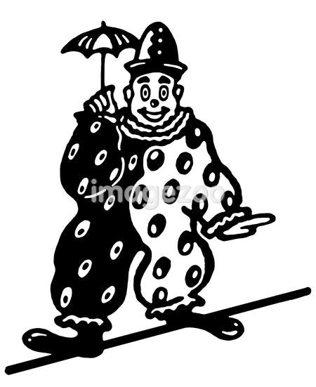 A black and white version of an illustration of a clown walking a tightrope
