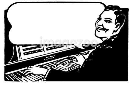 A black and white version of a man playing a piano organ