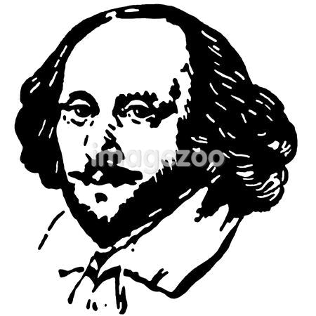 A black and white version of a portrait drawing of Shakespeare