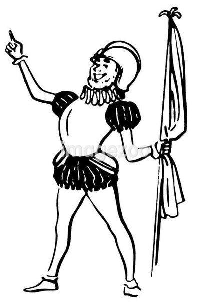 A black and white version of a drawing of a knight in amour holding a flag