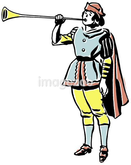 A drawing of a man in a renaissance era playing a horn or trumpet