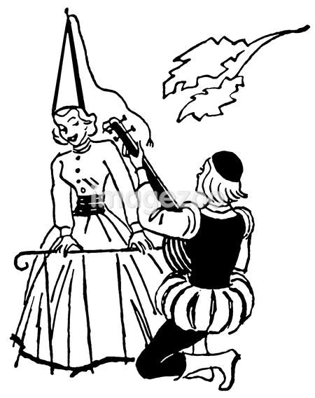 A black and white version of an illustration of a man serenading woman during the renascence era