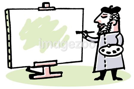 An illustration of a male artist painting on a stretched canvas