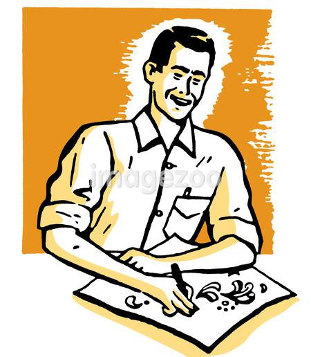 An illustration of a man drawing a picture at a desk