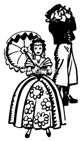 A black and white version of an illustration of a woman dressed in Victorian attire