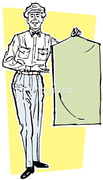 An illustration of a delivery driver holding a suit bag
