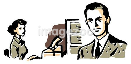 A business man with his secretary typing behind him