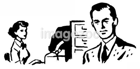 A black and white version of a business man with his secretary typing behind him