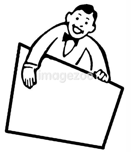 A black and white version of a cartoon style drawing of a vendor holding a blank sign
