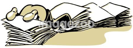 A cartoon style drawing of man almost buried in piles of paperwork