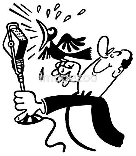 A black an white version of a cartoon style drawing of a man holding a screeching bird in front of a microphone