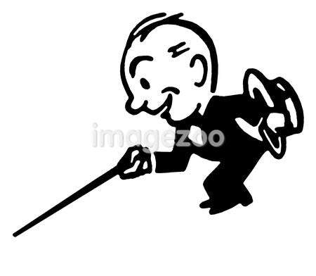 A black an white version of a cartoon style drawing of a small man dressed in a lounge suite with a cane