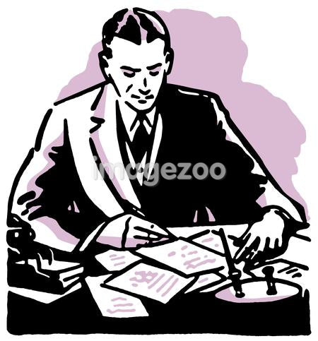 A graphic illustration of a business man working hard at his desk